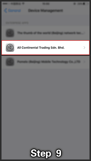 ios install step 4 open all continental